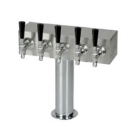Brushed Stainless Steel Air Cooled 5 Faucet T-Tower