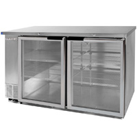 Back Bar Refrigerator w/Glass Doors - Stainless Steel