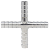 Stainless Steel Cross Fitting for 5/16 Inch ID Tubing