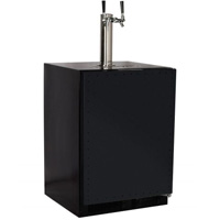 Marvel Undercounter Kegerator with X-CLUSIVE Dual Tap D System Keg Tapping Kit - Black Cabinet with Overlay Door