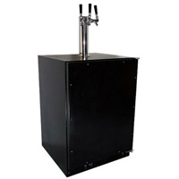 Marvel Undercounter Kegerator with X-CLUSIVE 3 Faucet Home Brew Keg Tapping Kit - Black Cabinet/Overlay Door