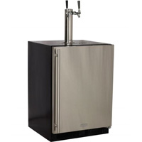 Marvel Undercounter Kegerator Cabinet with X-CLUSIVE 2 Faucet D System Keg Tapping Kit - Black/Stainless Steel