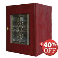 Scratch & Dent - Vinotemp 95 Standard Bottle Wood Wine Cellar Credenza w/ Beveled Glass Door