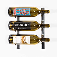 W Series 1 Wall Mounted Metal Wine Rack   3 Bottle - Chrome Luxe Finish