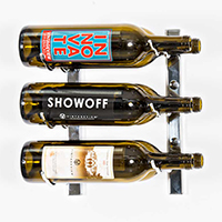 W Series 1' Wall Mounted Metal Wine Rack   6 Bottle - Chrome Luxe Finish
