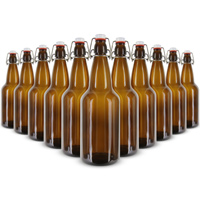 EZ Cap 1 Liter Flip-Top Home Brew Beer Bottles - Amber (Case of 12)