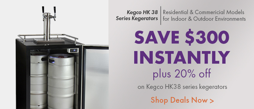 $300 Instant Savings on Kegco HK38 Series Kegerator