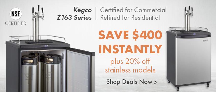 20% Off + $400 Instant Savings Kegco Z Series Commercial/Residential Kegerators