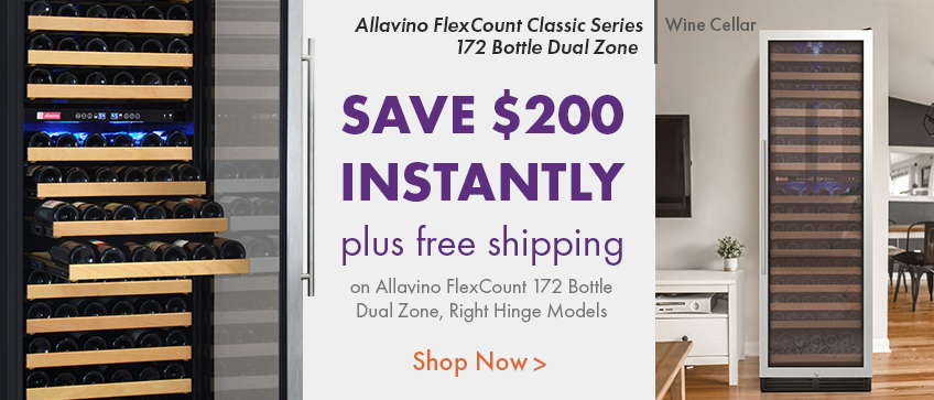 $200 Instant Savings and Free Shipping Allavino Flexcount Dual Zone 172 Right Hinge