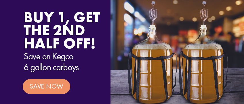 Buy 1, Get the 2nd Half Off! Save on Kegco 6 gallon carboys