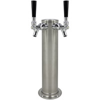 BrushedStainless Steel Dual Faucet Draft Beer Tower - 3-Inch Diameter Column