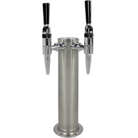 BrushedStainless Steel Dual Faucet Draft Beer Tower - 3-Inch Diameter Column
