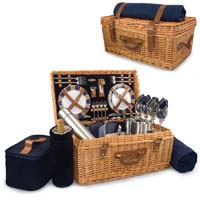 Canterbury English Style Willow Picnic Basket for Two