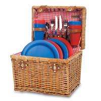 Oxford Willow Chest Picnic Basket for Four - Red Check Lining