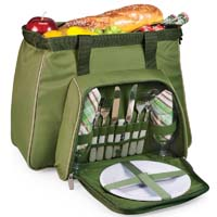 Toluca Insulated Cooler with Service for 2 - Pine Green