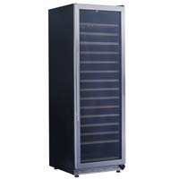 165-Bottle Single Zone Wine Chiller - Black Cabinet and Stainless Steel Frame Glass Door