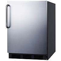 Refrigerator with Black Cabinet with Stainless Steel Door & Handle