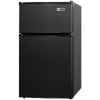 LAST ONE!  2.9 Cu. Ft. Two Door Compact Refrigerator Freezer, ADA Compliant - Black