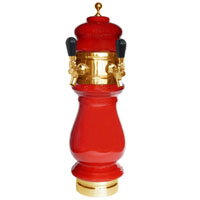 Silva Ceramic Double Faucet Draft Beer Tower - Red with Gold Accents