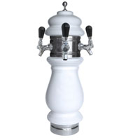 Silva Ceramic Triple Faucet Draft Beer Tower - White with Chrome Accents