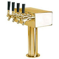 PVD Brass 4 Faucet T-Style Draft Tower - 3 Inch Column
