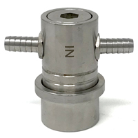 Stainless Steel Custom Double Barbed Gas In Ball Lock Coupler