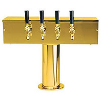 PVD Brass Four Faucet T-Style Draft Tower - 4 Inch Column