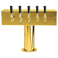 PVD Brass Five Faucet T-Style Draft Tower - 4 Inch Column
