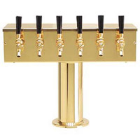 PVD Brass Six Faucet T-Style Draft Tower - 4 Inch Column
