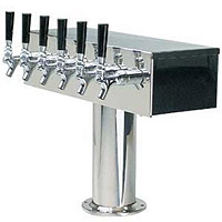 Stainless Steel Six Faucet T-Style Draft Tower - 4 Inch Column