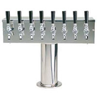 Stainless Steel Eight Faucet T-Style Draft Tower - 4 Inch Column