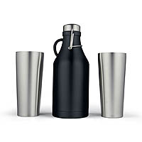Black Growler with 2 Stainless Steel Pint Glasses