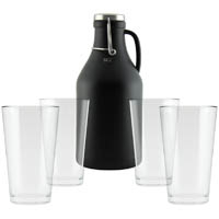 Black Growler with 4 Pint Glasses