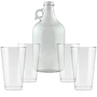 Clear Growler with 4 Pint Glasses