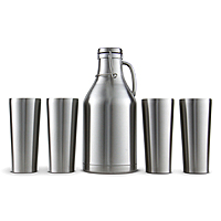 Stainless Steel Growler with 4 Stainless Steel Pint Glasses