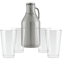 Stainless Steel Growler with 4 Pint Glasses