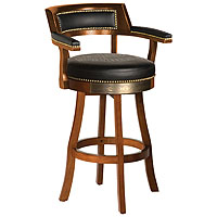 Bar & Shield Flames Bar Stools w/Backrest - Heritage Brown