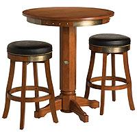 Bar & Shield Flames Pub Table & Bar Stool Set - Heritage Brown