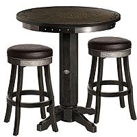 Harley-Davidson® HDL-13202-V - Bar & Shield Flames Pub Table & Bar Stool Set - Vintage Black