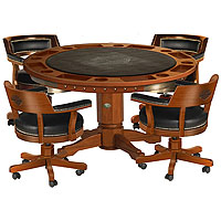 Bar & Shield Flames Poker Table & Chairs Set - Heritage Brown