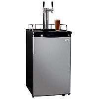 Kegco Dual Tap Faucet Javarator Cold Brew Coffee Dispenser Black Cabinet Kegerator and Stainless Steel Door