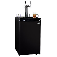 Dual Faucet Kombucha Dispense System with Black Cabinet and Door
