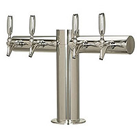 Metropolis Stainless Steel 4 Faucet T-Style Draft Tower - 4 Inch Column - Glycol Cooled