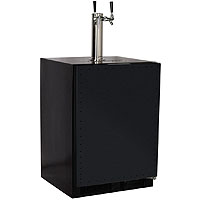 Marvel Kegerator Cabinet with 2 Faucet Home Brew Keg Tapping Kit - Black Cabinet/Overlay Door