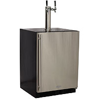 Marvel Kegerator Cabinet with 2 Faucet Home Brew Keg Tapping Kit - Black/Stainless Steel