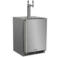 Marvel All Stainless Steel Outdoor Kegerator Cabinet with 2 Faucet Home Brew Keg Tapping Kit