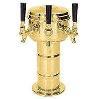 Polished Brass 3 Faucet Mini Mushroom Draft Beer Tower - 4 Inch Column