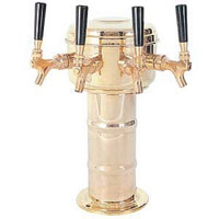 Polished Brass 4 Faucet Mini-Mushroom Draft Beer Tower - 4 Inch Column