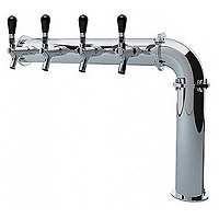 Stainless Steel Persey 4 Faucet Elbow Style Draft Beer Tower - 3.3 Inch Column - Glycol Cooled