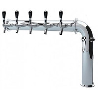Stainless Steel Persey 5 Faucet Elbow Style Draft Beer Tower - 3.3 Inch Column - Glycol Cooled